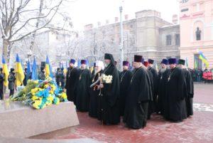 Духовенство епархии прияли участие в возложении цветов по случаю Дня Соборности Украины