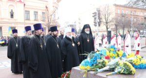 В День Соборности Украины духовенство епархии возложило цветы к памятнику Т.Г. Шевченко